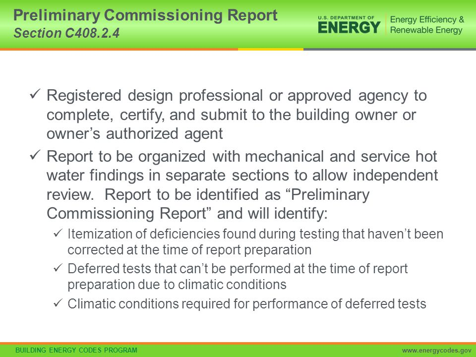Preliminary Commissioning Report Section C408.2.4