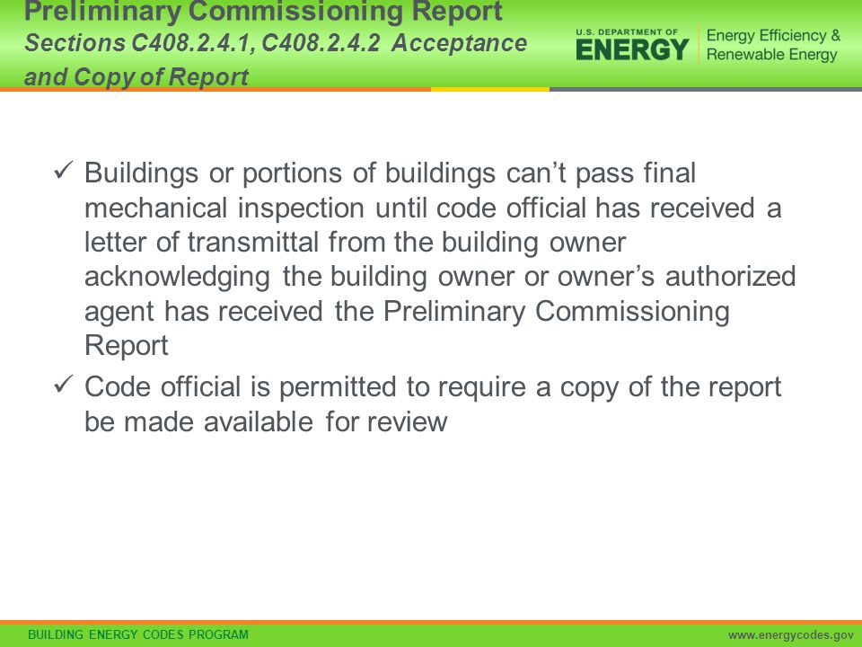 Preliminary Commissioning Report Sections C408. 2. 4. 1, C408. 2. 4