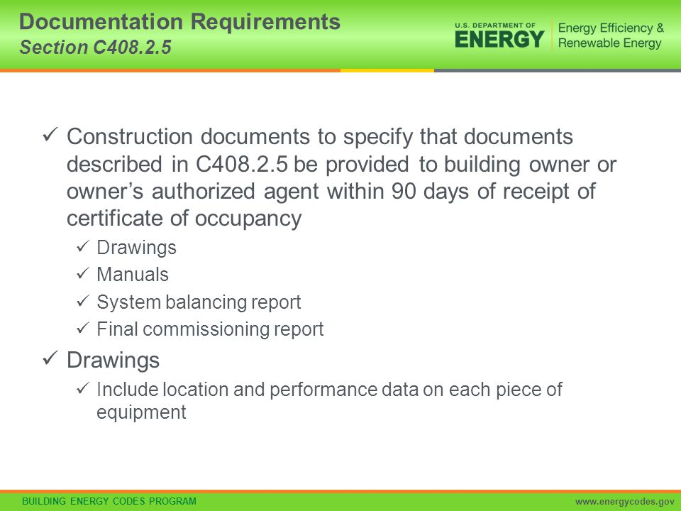 Documentation Requirements Section C408.2.5