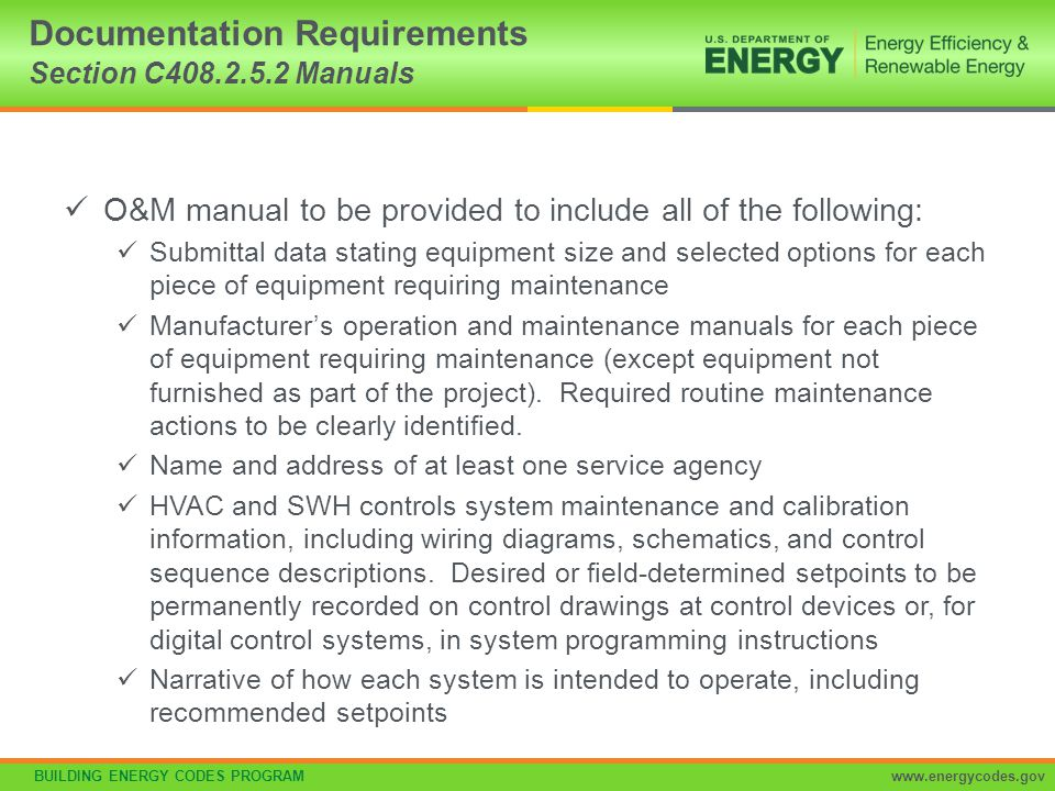 Documentation Requirements Section C408.2.5.2 Manuals
