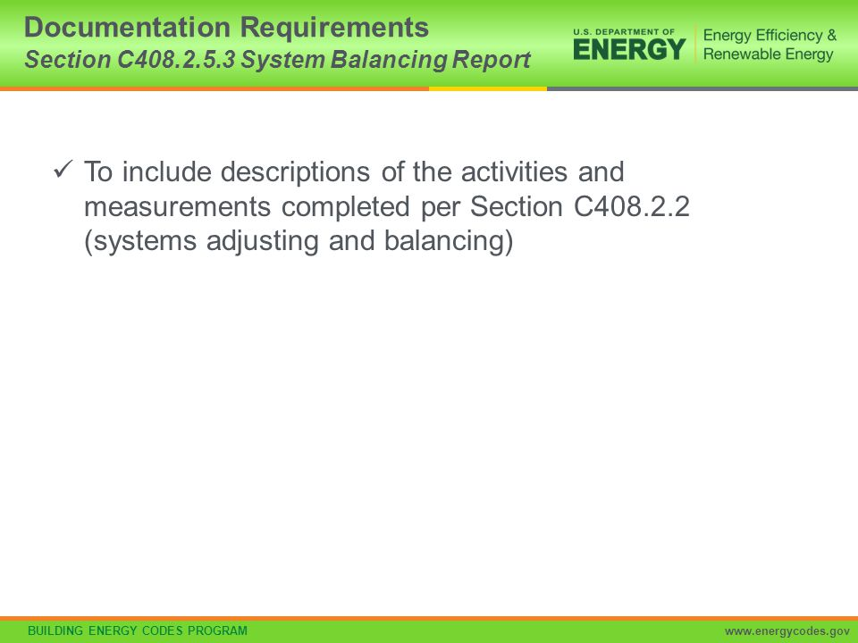 Documentation Requirements Section C408.2.5.3 System Balancing Report