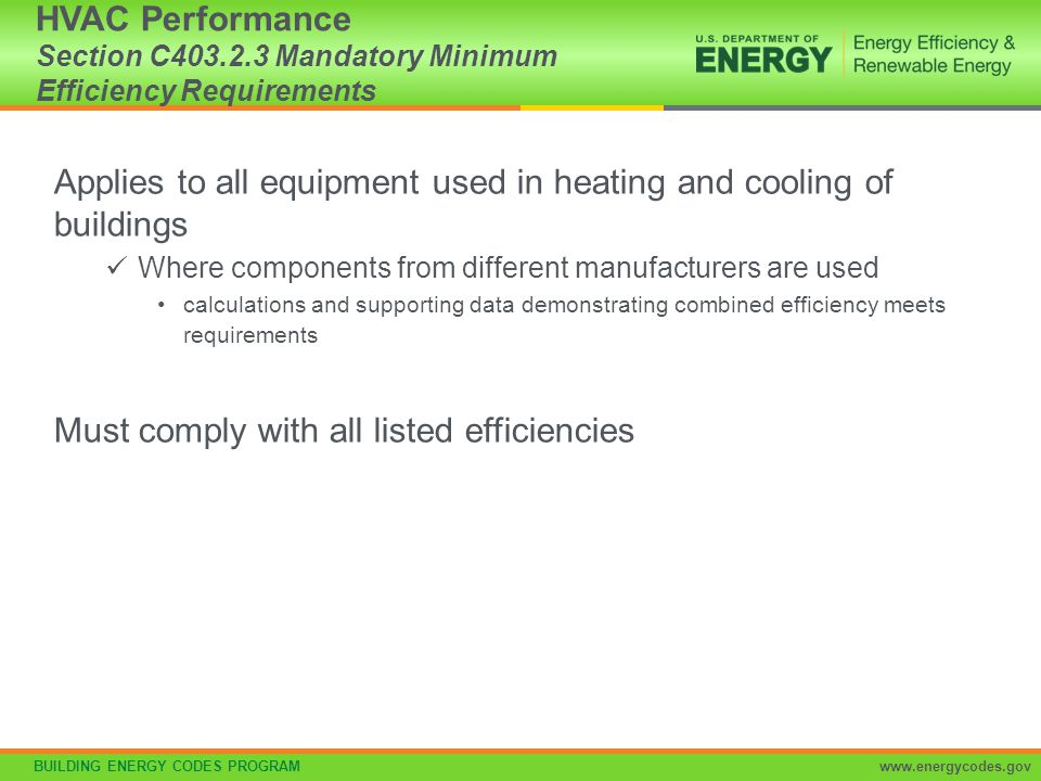 Applies to all equipment used in heating and cooling of buildings