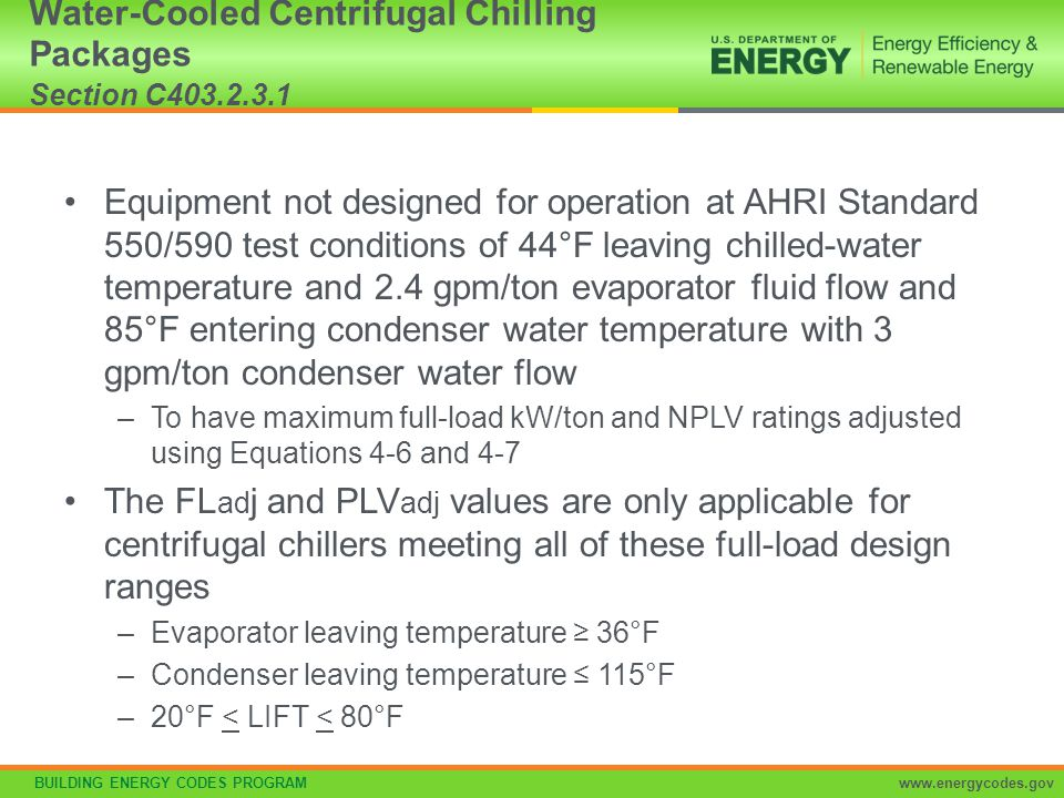 Water-Cooled Centrifugal Chilling Packages Section C403.2.3.1