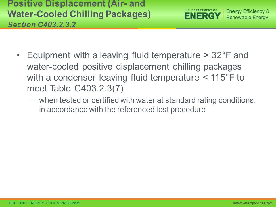 Positive Displacement (Air- and Water-Cooled Chilling Packages) Section C403.2.3.2