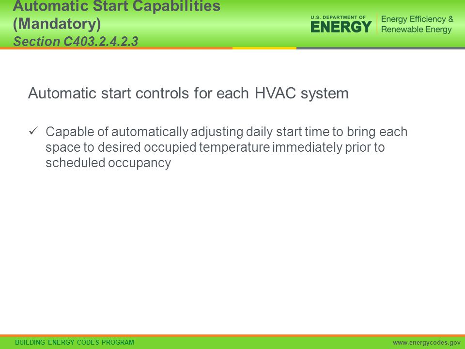 Automatic Start Capabilities (Mandatory) Section C403.2.4.2.3