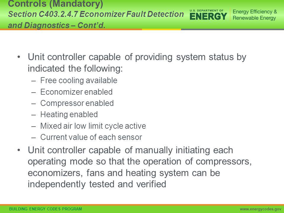 Controls (Mandatory) Section C403. 2. 4