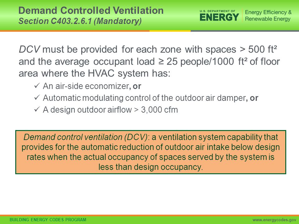 Demand Controlled Ventilation Section C403.2.6.1 (Mandatory)