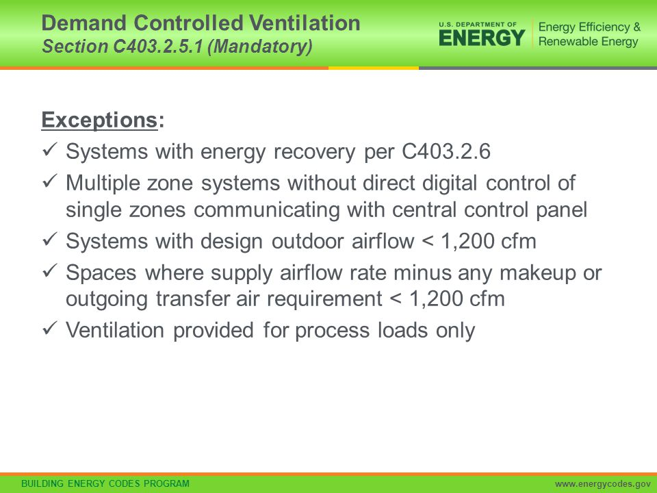 Demand Controlled Ventilation Section C403.2.5.1 (Mandatory)