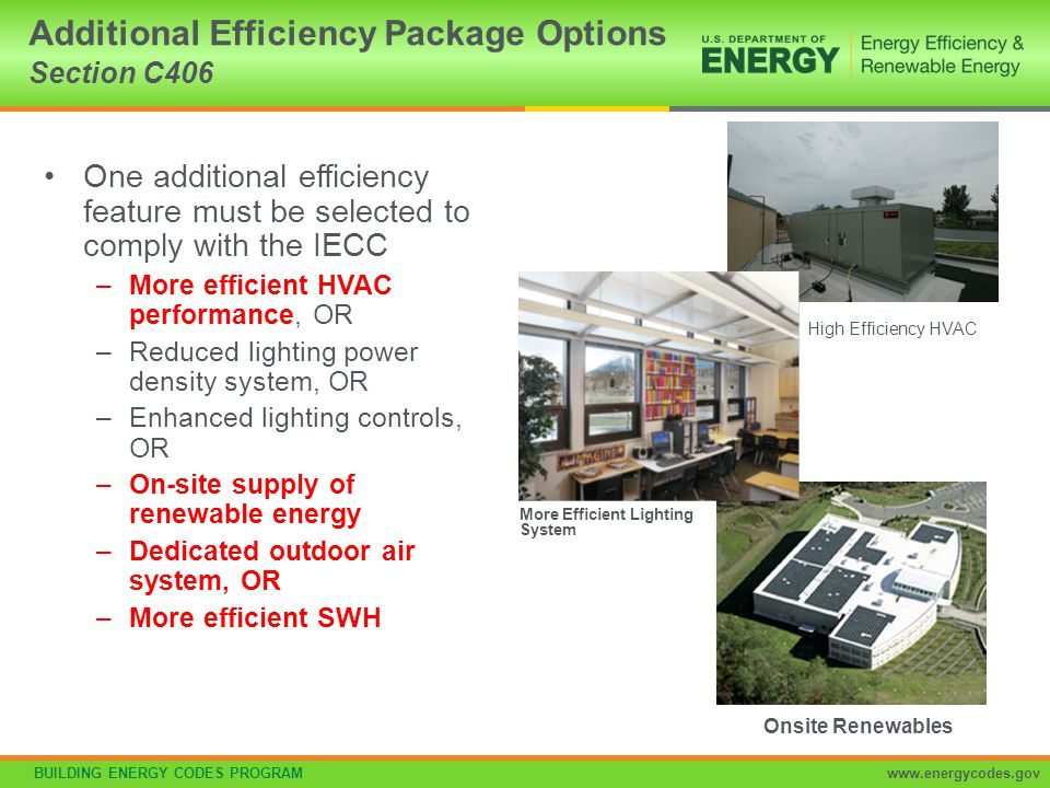 Additional Efficiency Package Options Section C406
