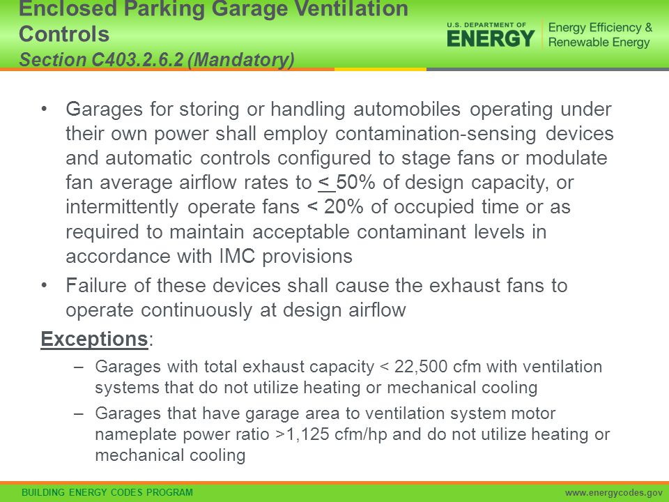Enclosed Parking Garage Ventilation Controls Section C403. 2. 6