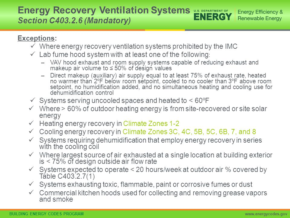Energy Recovery Ventilation Systems Section C403.2.6 (Mandatory)
