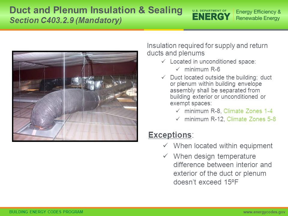 Duct and Plenum Insulation & Sealing Section C403.2.9 (Mandatory)