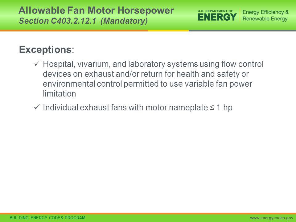 Allowable Fan Motor Horsepower Section C403.2.12.1 (Mandatory)