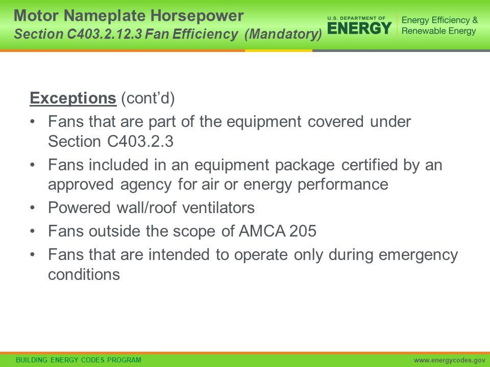 Motor Nameplate Horsepower Section C403. 2. 12