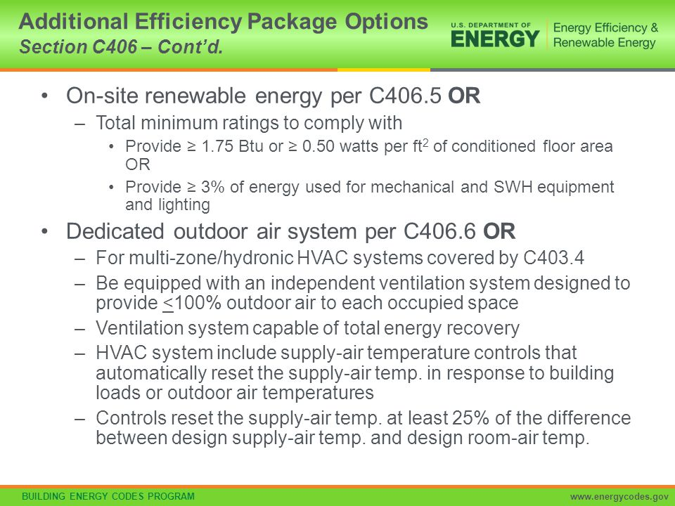 Additional Efficiency Package Options Section C406 – Cont'd.