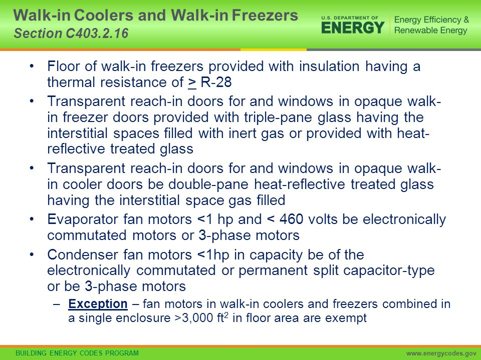 Walk-in Coolers and Walk-in Freezers Section C403.2.16