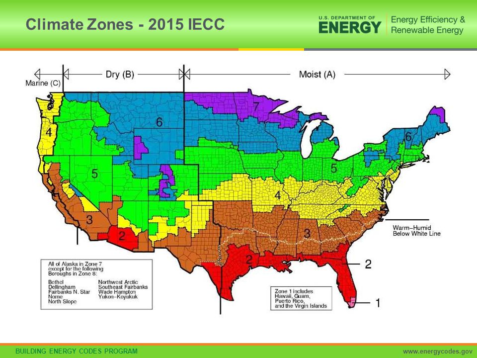 Climate Zones - 2015 IECC The climate zones are unchanged from the 2012 IECC.