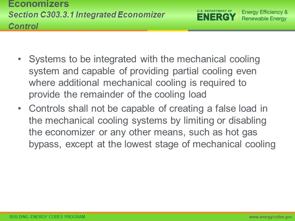 Economizers Section C303.3.1 Integrated Economizer Control