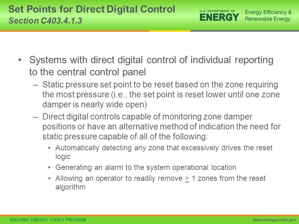 Set Points for Direct Digital Control Section C403.4.1.3