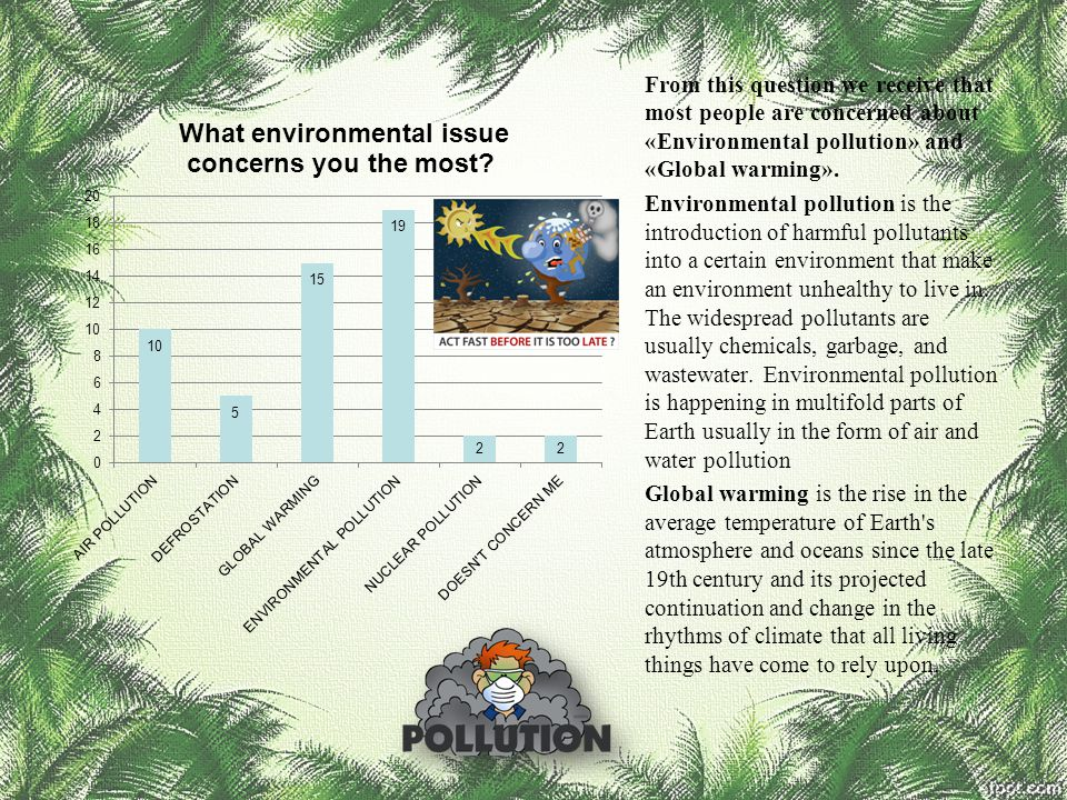 From this question we receive that most people are concerned about «Environmental pollution» and «Global warming».