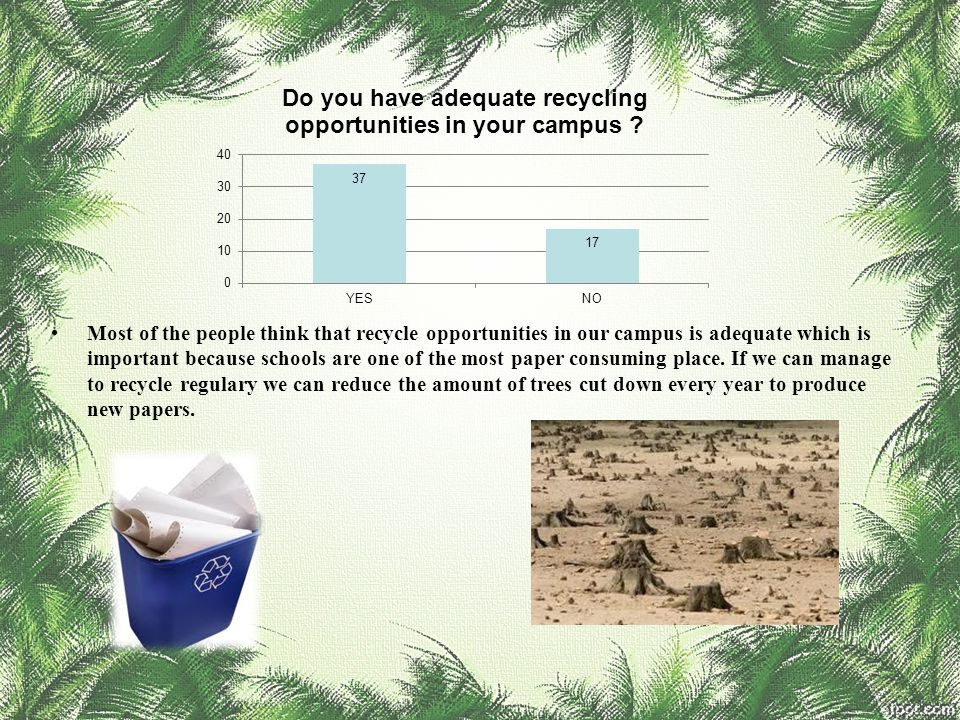 Most of the people think that recycle opportunities in our campus is adequate which is important because schools are one of the most paper consuming place.