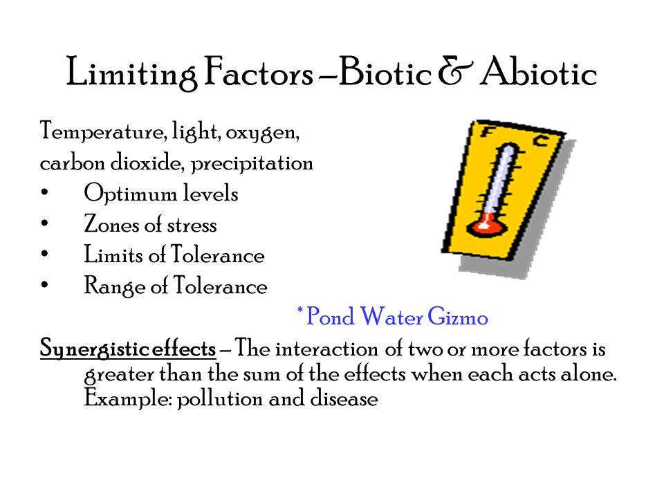 Limiting Factors –Biotic & Abiotic