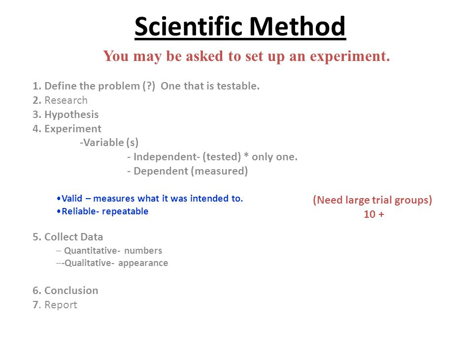 You may be asked to set up an experiment. (Need large trial groups)