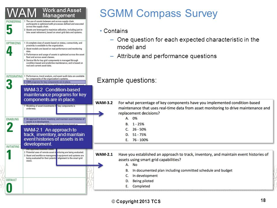WAM SGMM Compass Survey Example questions: Contains