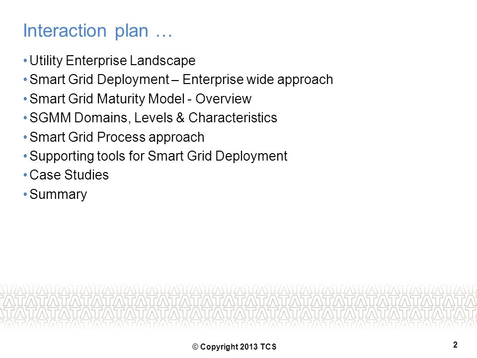 Interaction plan … Utility Enterprise Landscape
