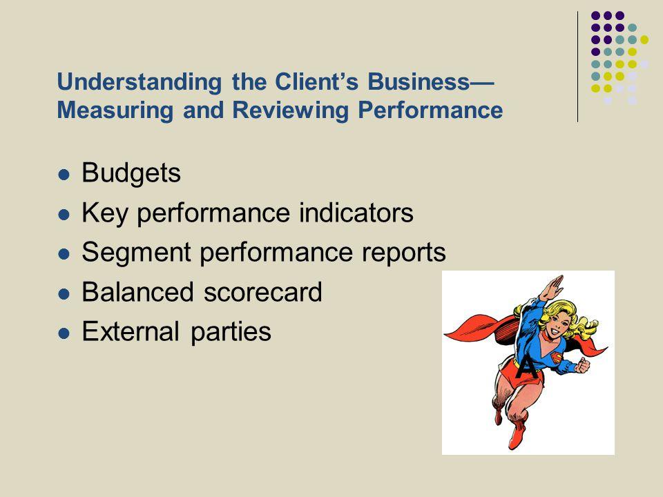 A Budgets Key performance indicators Segment performance reports