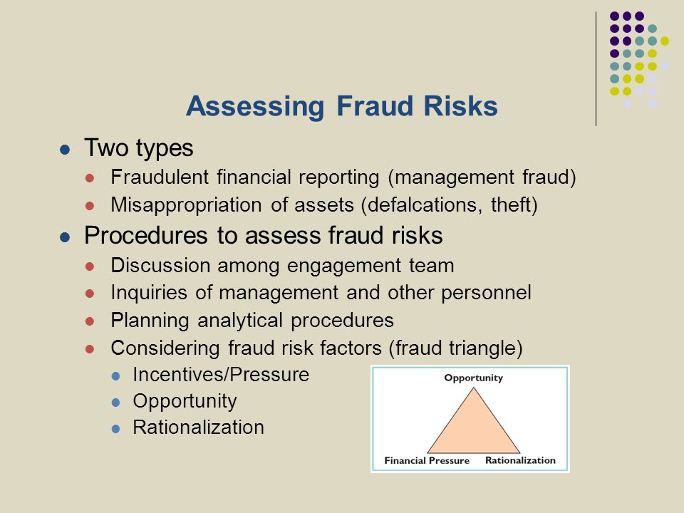 Assessing Fraud Risks Two types Procedures to assess fraud risks