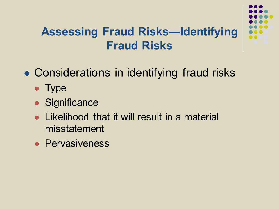Assessing Fraud Risks—Identifying Fraud Risks