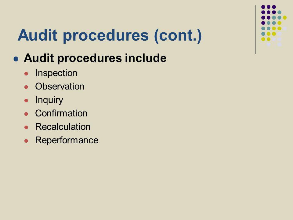 Audit procedures (cont.)