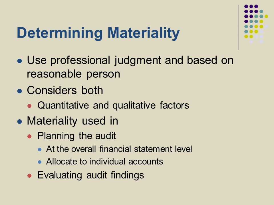 Determining Materiality