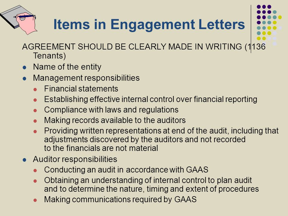 Items in Engagement Letters