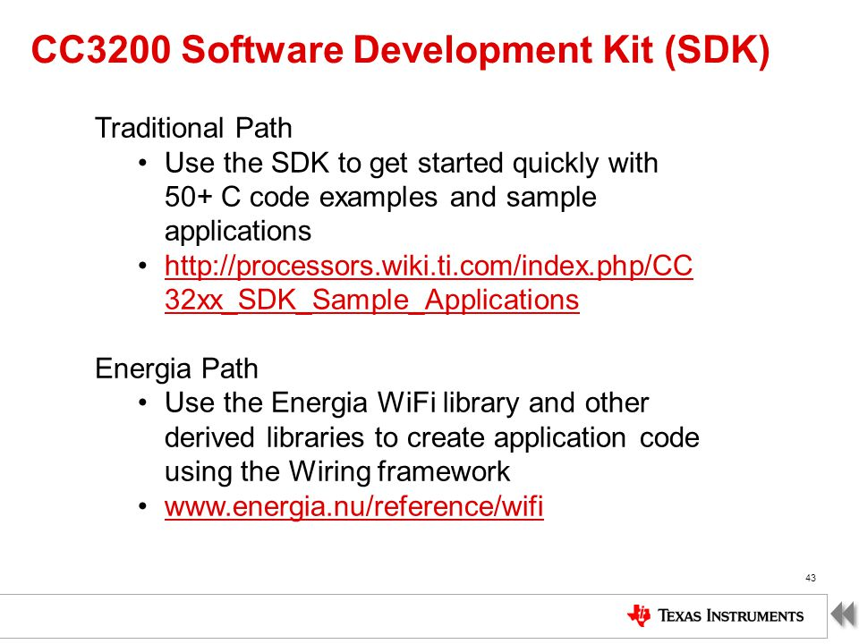 CC3200 Software Development Kit (SDK)