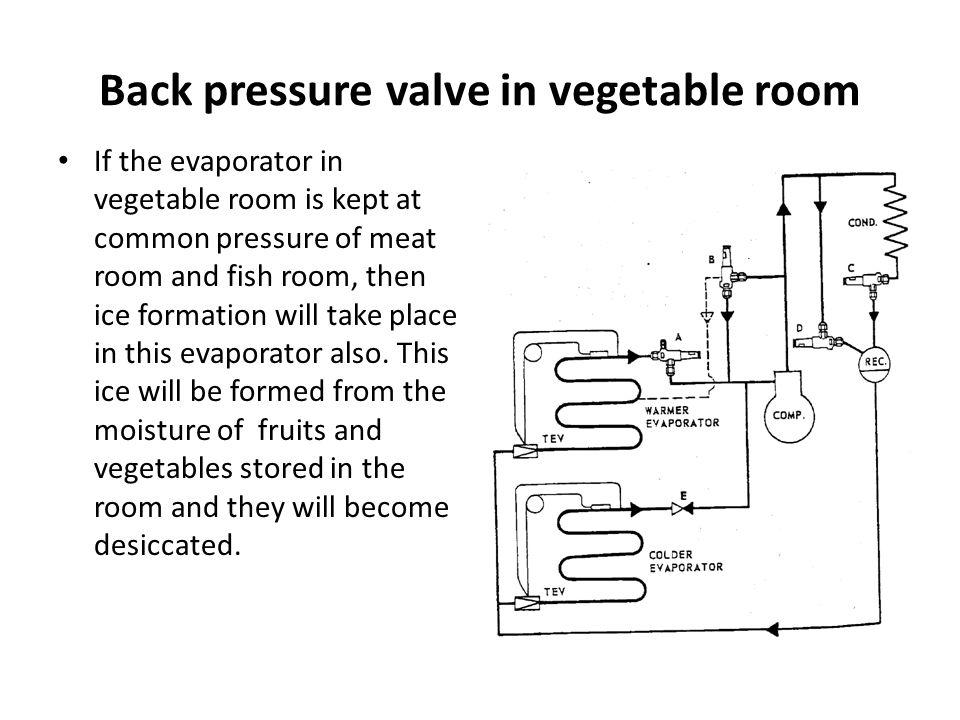 Back pressure valve in vegetable room