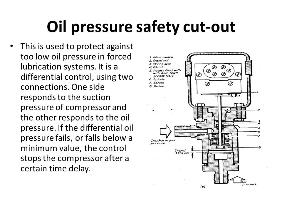 Oil pressure safety cut-out