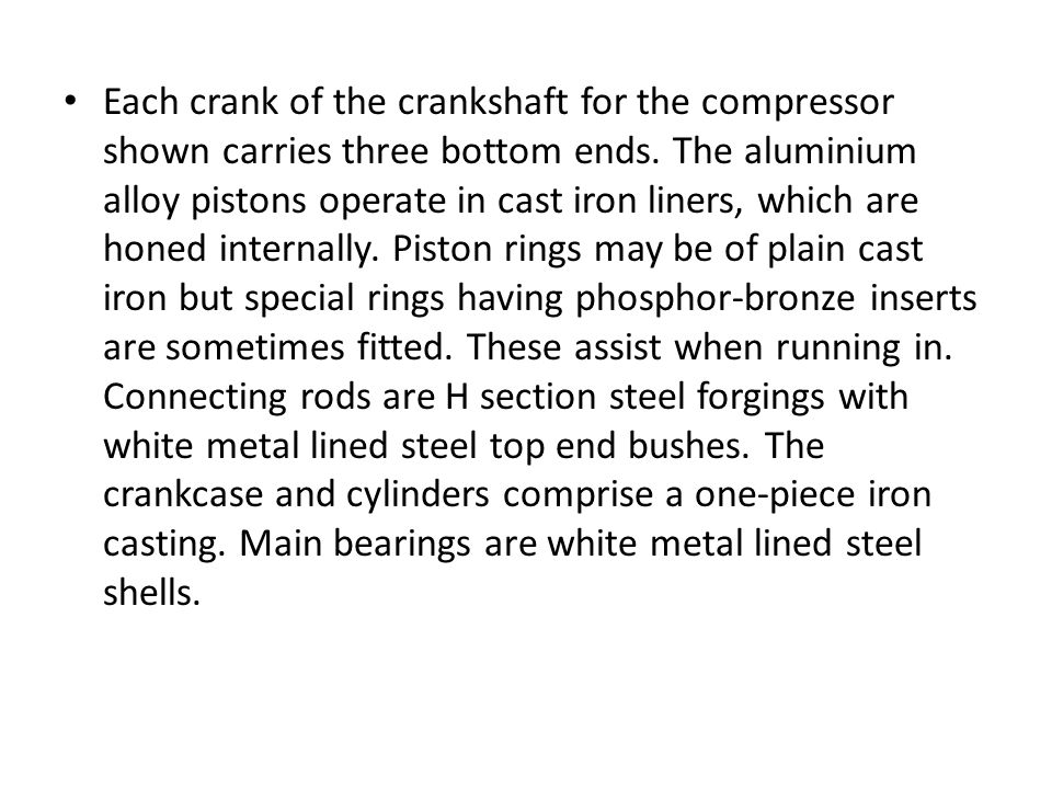 Each crank of the crankshaft for the compressor shown carries three bottom ends.