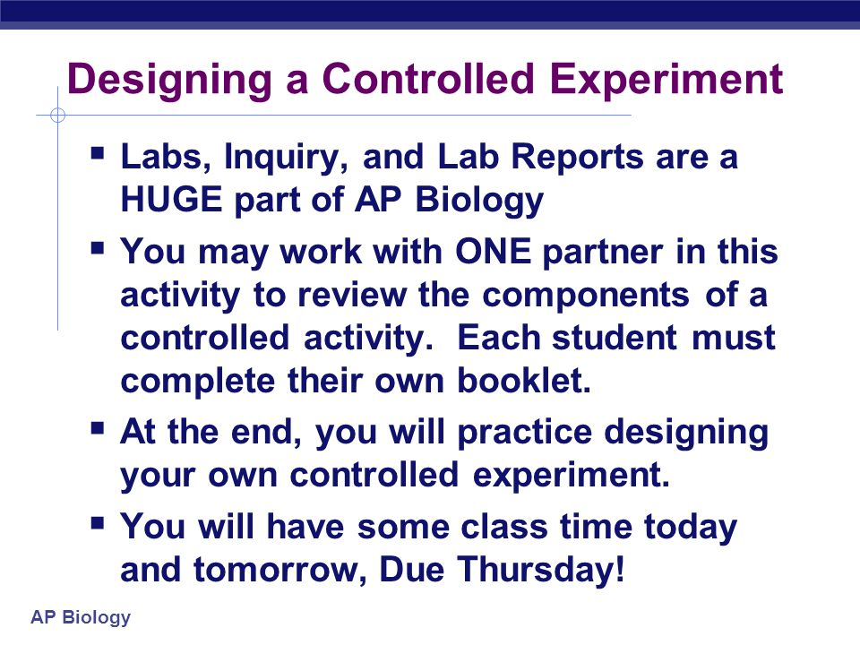 Designing a Controlled Experiment