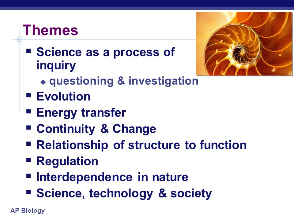 Themes Science as a process of inquiry Evolution Energy transfer