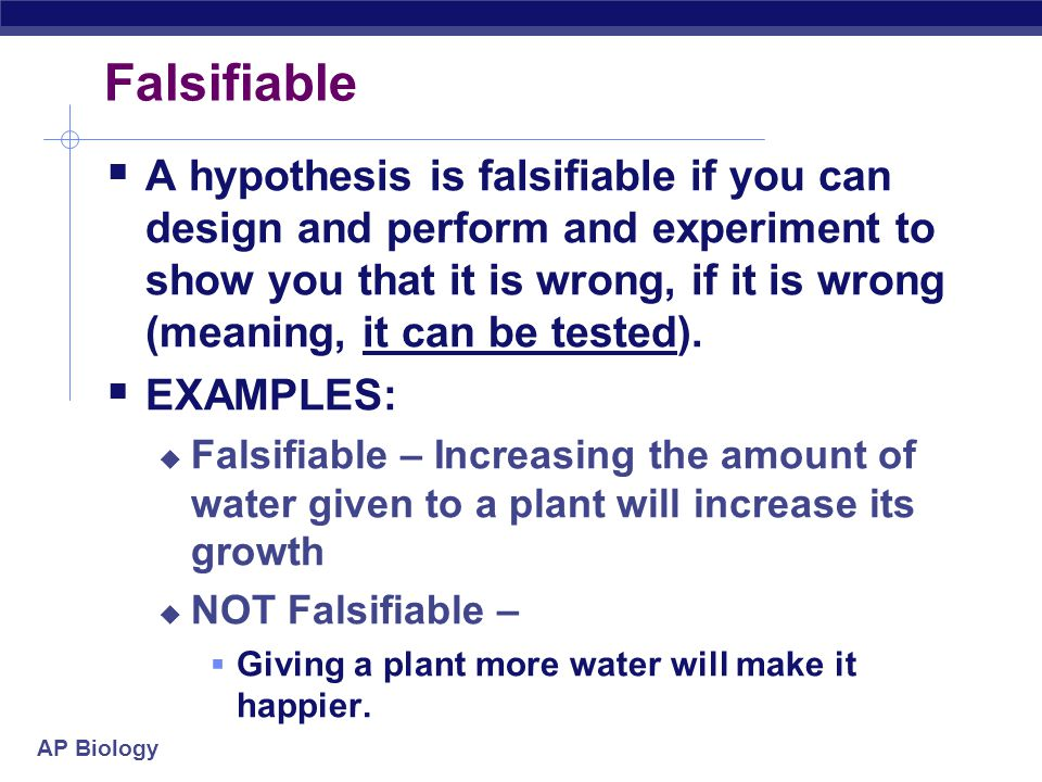 AP Biology Falsifiable.