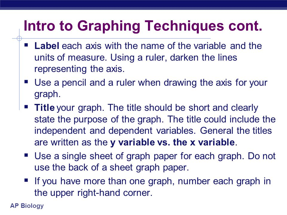 Intro to Graphing Techniques cont.
