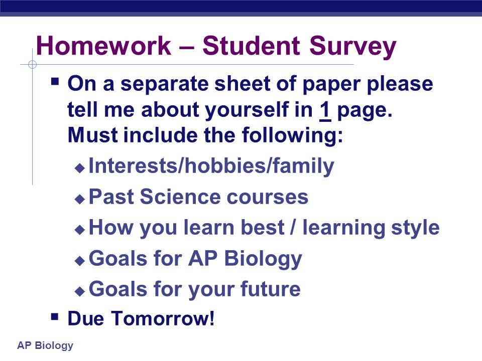 Homework – Student Survey