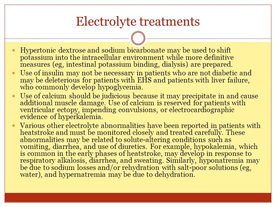 Electrolyte treatments
