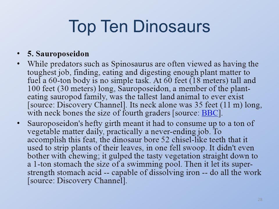 Top Ten Dinosaurs 5. Sauroposeidon