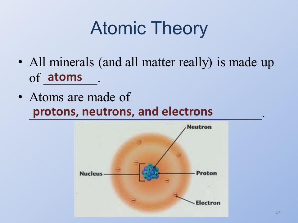 Atomic Theory All minerals (and all matter really) is made up of ________. Atoms are made of ___________________________________.
