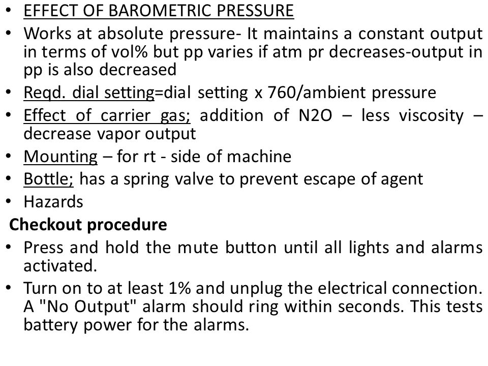 EFFECT OF BAROMETRIC PRESSURE