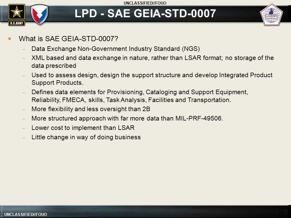 LPD - SAE GEIA-STD-0007 What is SAE GEIA-STD-0007