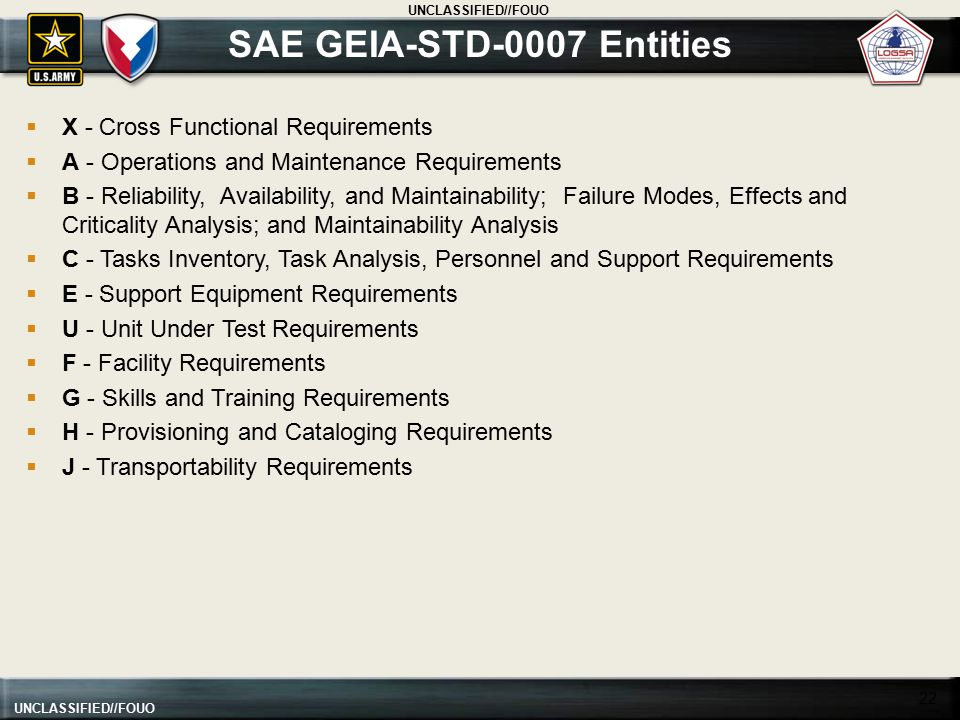 SAE GEIA-STD-0007 Entities